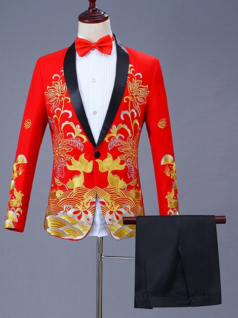 Floral Embroidery Chinese Style Men's Dress Suit