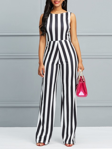 Striped Backless Lace-Up Women's Jumpsuit