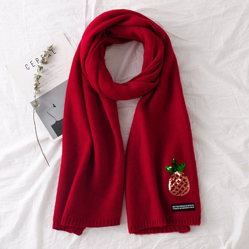 Solid Color Pineapple Embroidery Soft Knitting Scarf