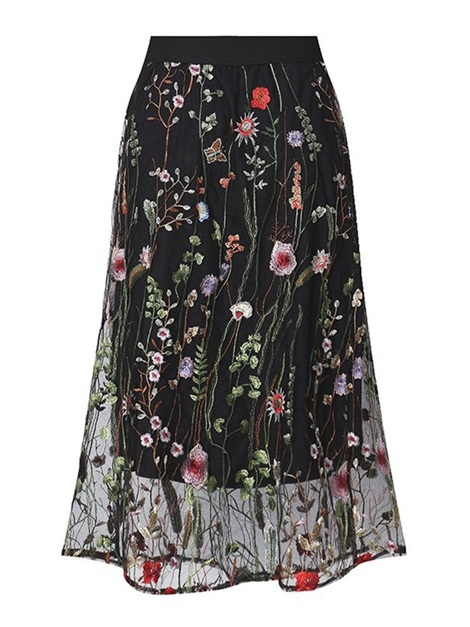 Embroidered Floral Mesh Lace Women's Skirt