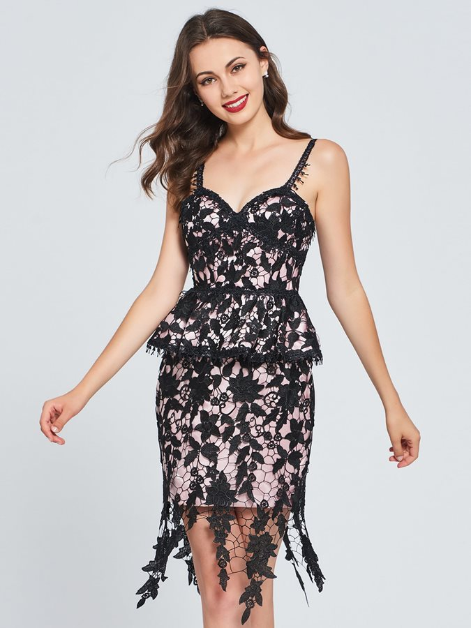 Sheath Spaghetti Straps Lace Ruffles Homecoming Dress