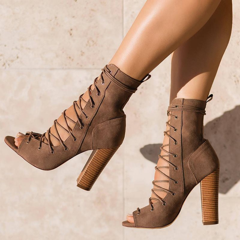 Peep Toe Lace-Up Front Chunky Heel Womens Boots