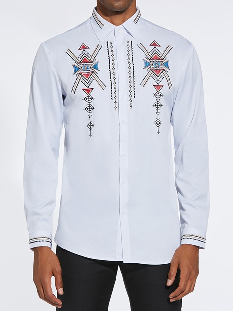 Geometric Single-Breasted Button Up Men's Casual Shirt