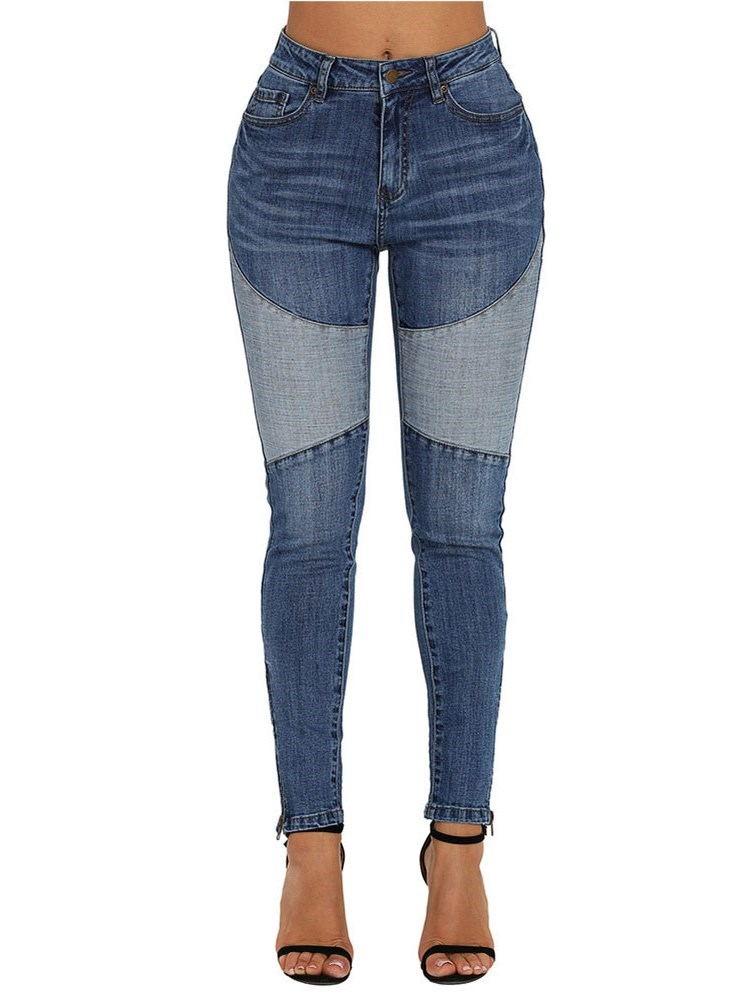 Slim Patchwork Color Block Womens Jeans