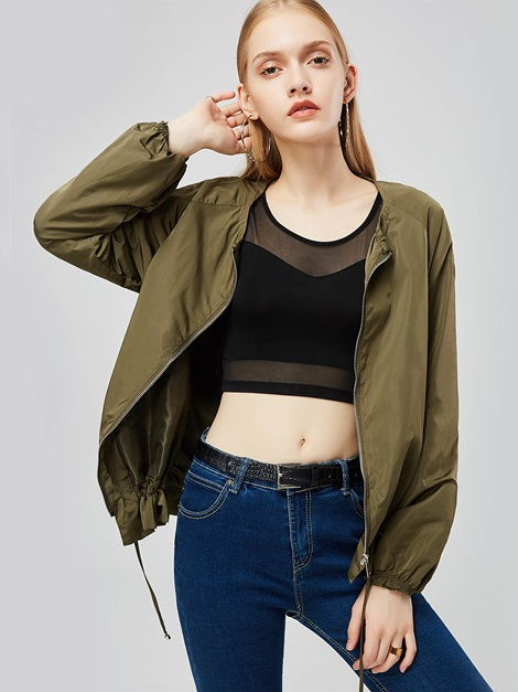 Army Green Zipper Round Neck Women's Jacket