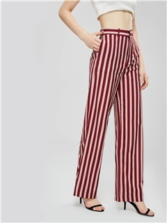 Striped Color Block Zipper Women's Casual Pants 2