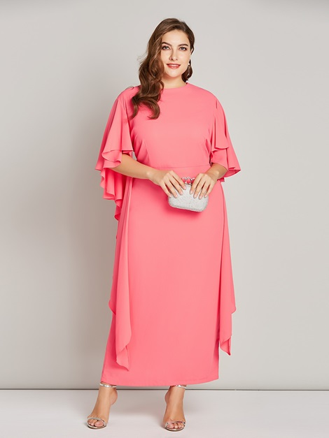 Long Sleeve Pencil Plus Size Plain Women's Bodycon Dress