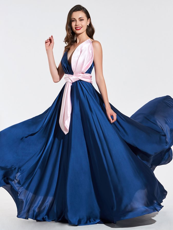 A-Line Ruched V-Neck Bowknot Evening Dress