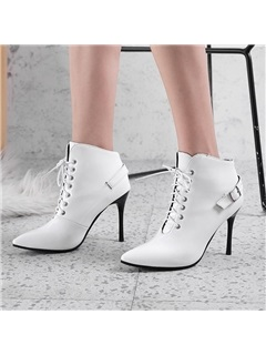 PU Lace-Up Front Stiletto Heel Women's Ankle Boots 5