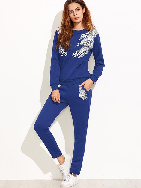 Long Sleeve Top and Pants Women's Suit