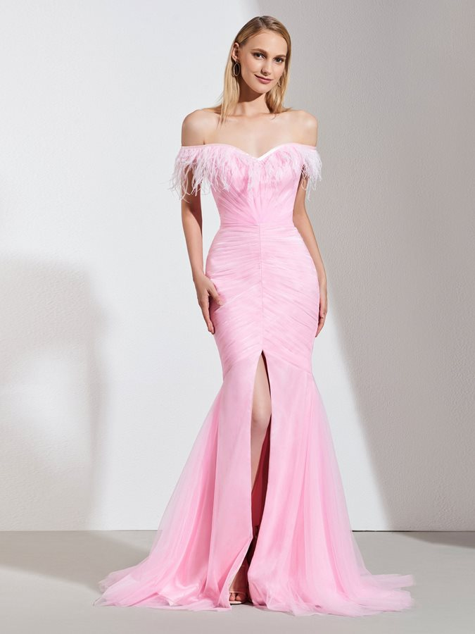 Off-the-Shoulder Split-Front Pleats Mermaid Evening Dress 2019