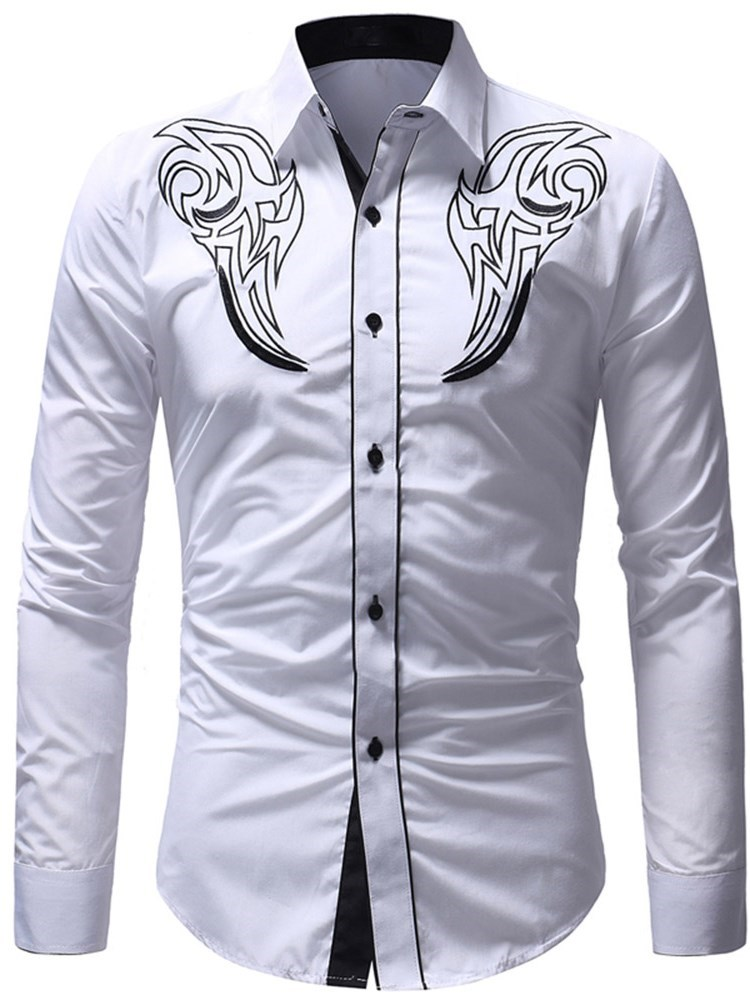 Lapel Long Sleeve Print Mens Casual Shirt