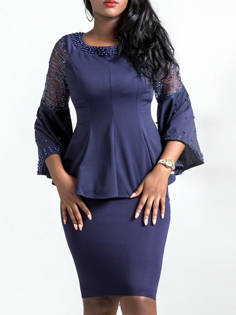 OL Bead Blouse And Bodycon Skirt Women's Suit
