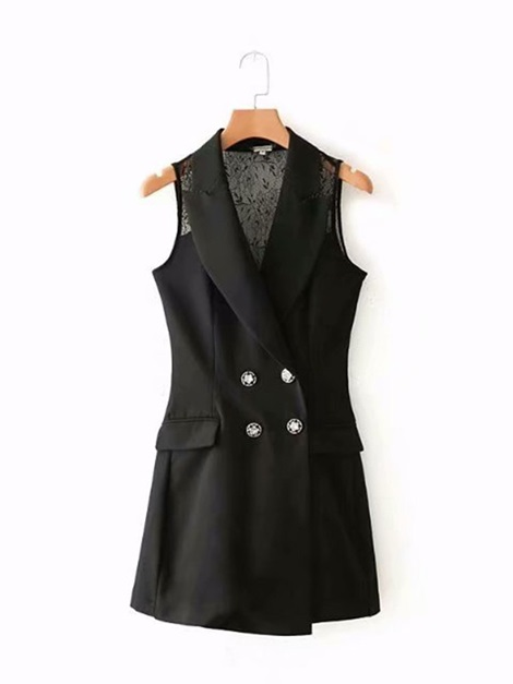 OL Lace Double Breasted Sleeveless Women's Vest
