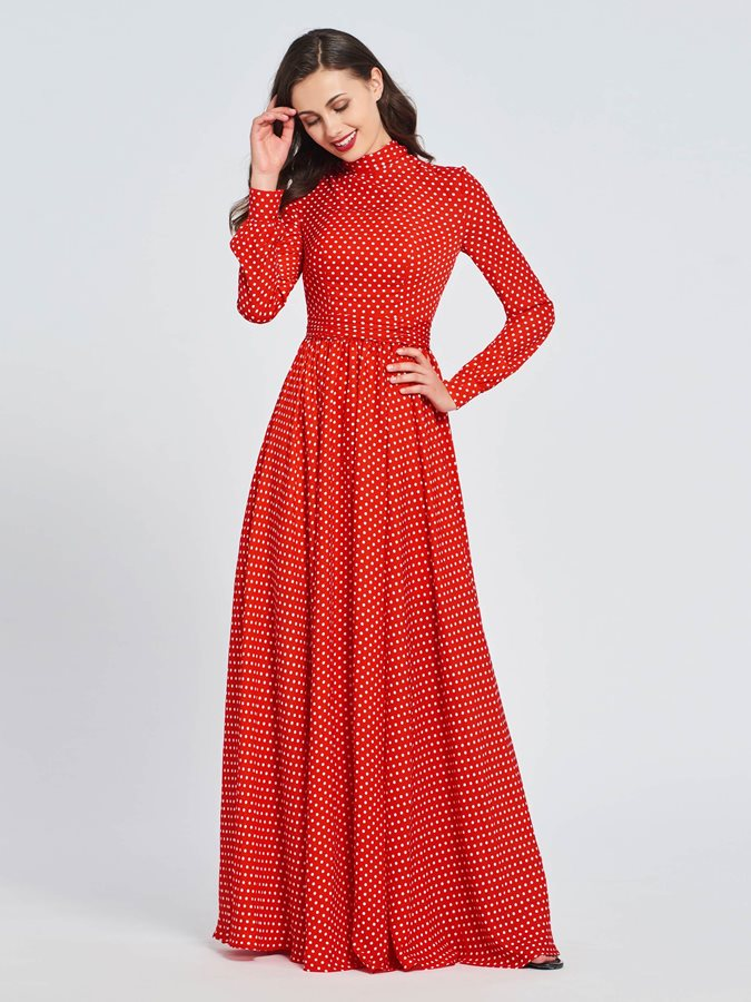 High Neck Long Sleeves Sashes Dots Prom Dress