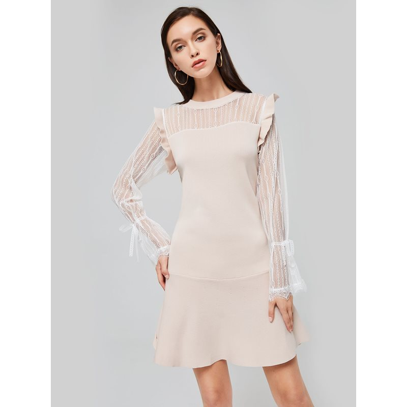 Patchwork See-Through Womens Sweater Dress