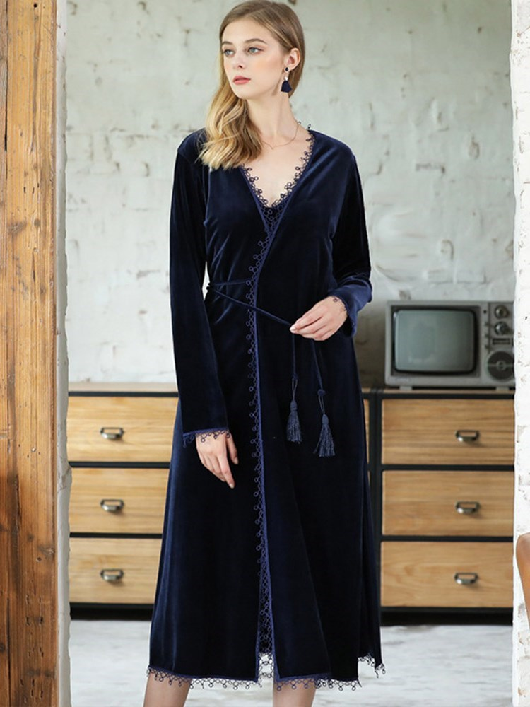 Womens Gold Velvet Long Lace-Up Nightgown