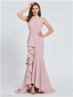 Trumpet High Neck Ruffles Evening Dress 2019 10