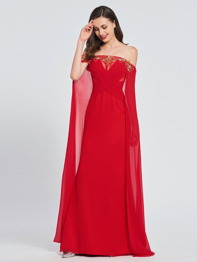 A-Line Off-the-Shoulder Beading Pleats Prom Dress