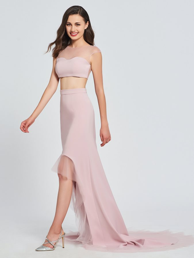 A Line Bateau Two Pieces High Low Prom Dress Tidebuycom
