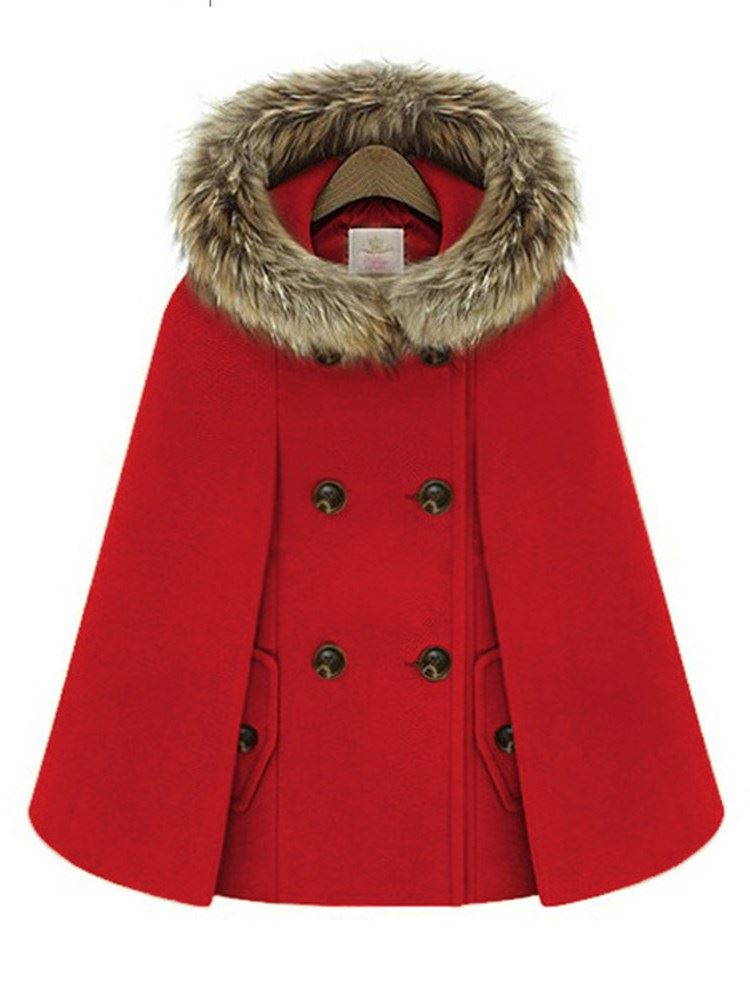 Faux Fur Wool Blends Hooded Double-Breasted Womens Cape Coat фото