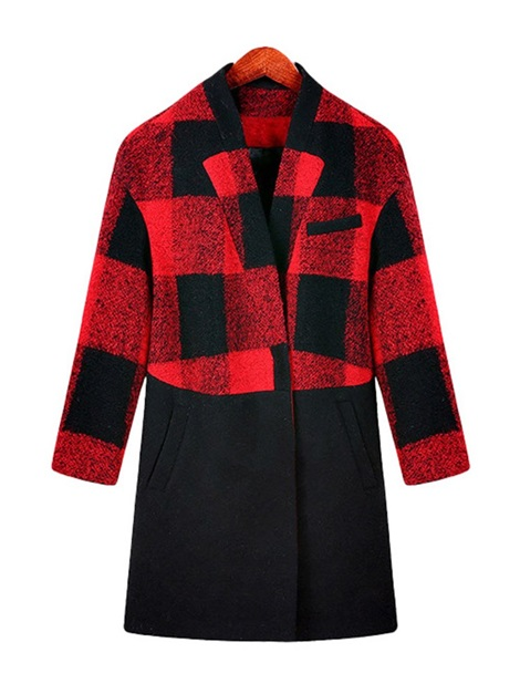 Winter Wool Blends Plaid Patchwork Women's Overcoat