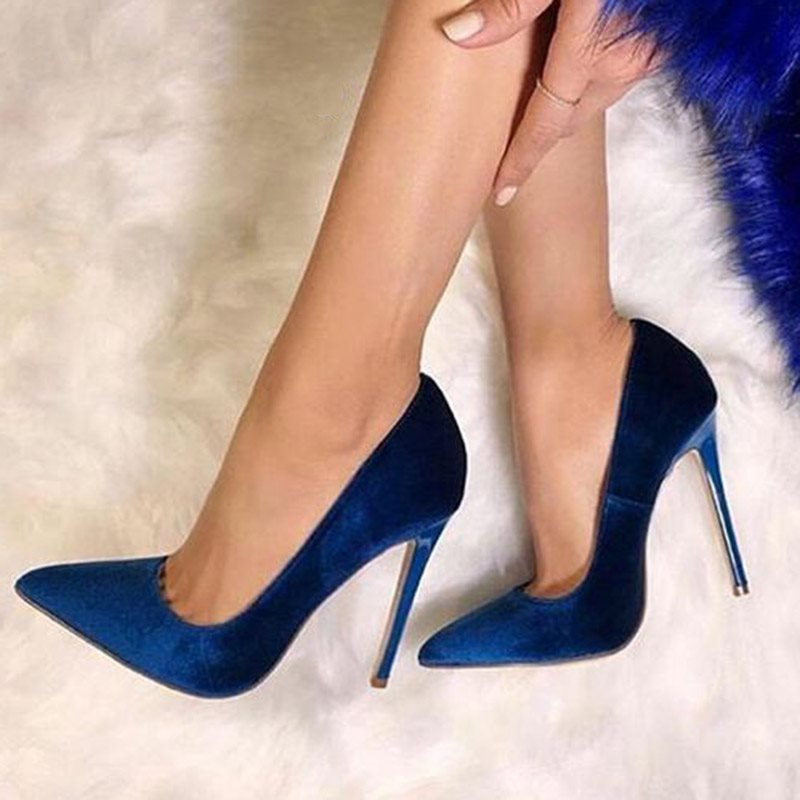 Royal Blue Pointed Toe Stiletto Heel Womens Pumps