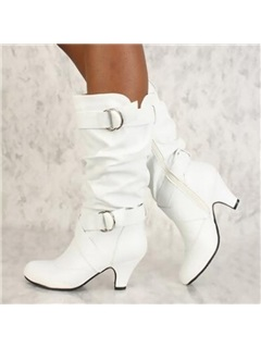 PU Plain Side Zipper Chunky Heel Women's Boots 5