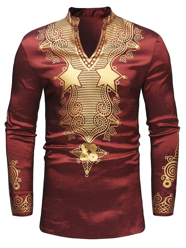 African Fashion Stand Collar Dashiki Print V-Neck Mens Shirt