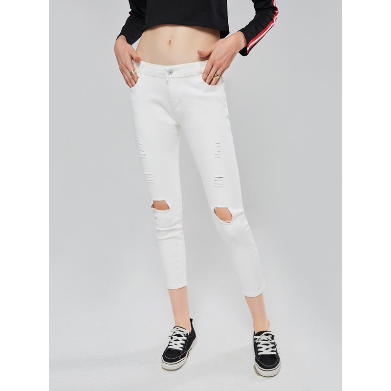 High Waist Knee Hole Womens Jeans