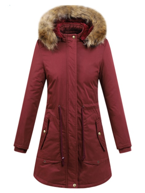 Winter Hooded Plain Zip Faux Fur Women's Overcoat