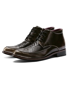 PU Round Toe Lace-Up Front Men's Boots 3