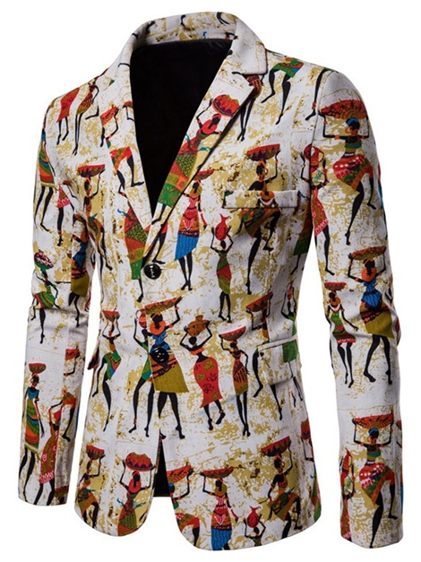 Ethnic Print Notched Lapel Men's Blazer