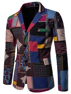 Notched Lapel Color Block Worn Patchwork Men's Blazer 5
