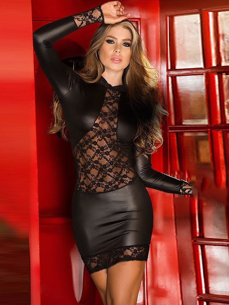 Lace Hollow Long Sleeve Patent Leather Chemise