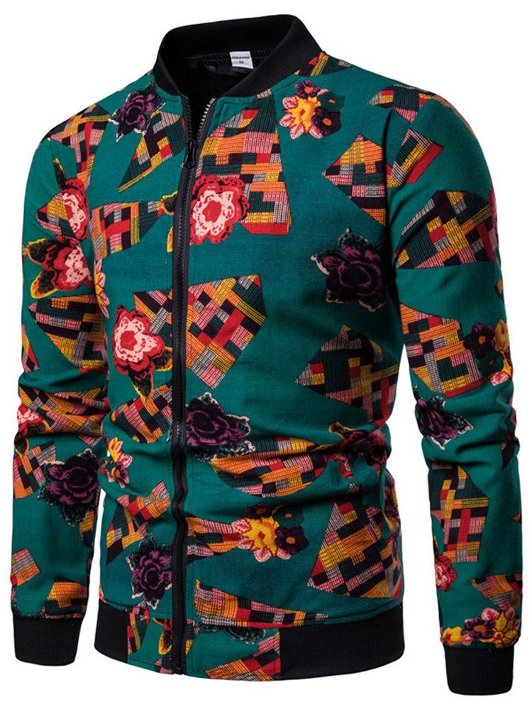 Patchwork Stand Collar Zipper Mens Casual Jacket фото