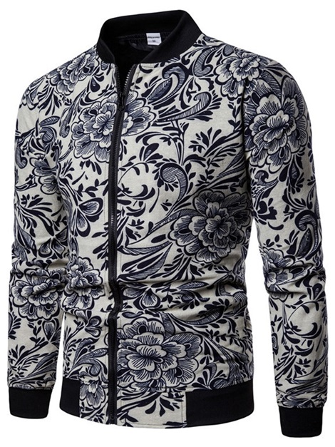 Stand Collar Floral Men's Casual Jacket