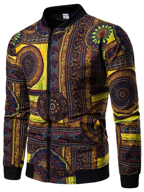 Stand Collar Ethnic Pattern Men's Casual Jacket