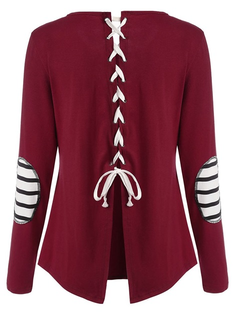Casual Lace Up Scoop Long Sleeve Women'sT-shirt