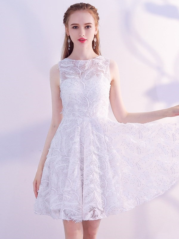 A-Line Lace Scoop Homecoming Dress