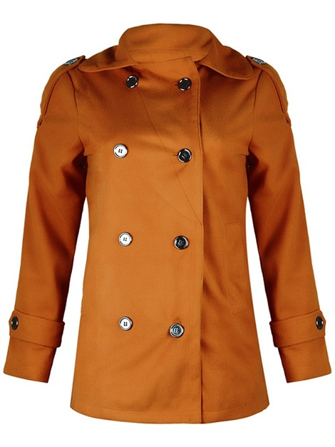 Wool Blends Double-Breasted Lapel Women's Overcoat