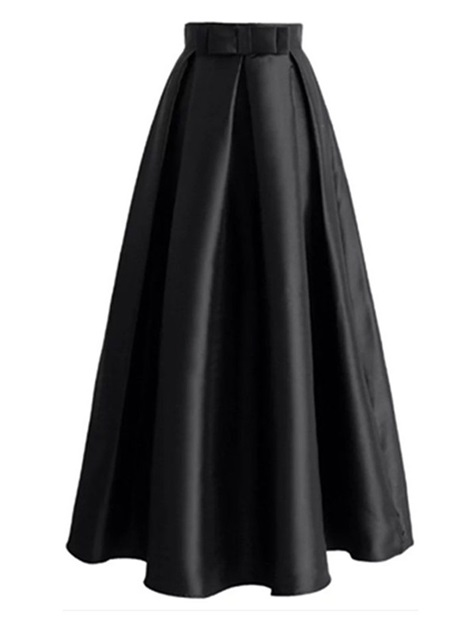 High Waist A Line Pleated Long Women's Maxi Skirt