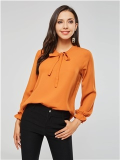 Flare Sleeve Bowknot Loose Women's Blouse 1