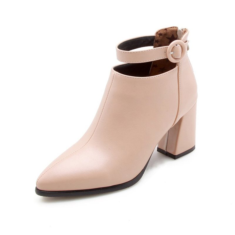 Pointed Toe Back Zip Chunky Heel Womens Ankle Boots