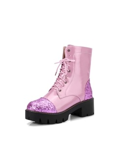 Glitter Patchwork Lace-Up Front Women's Boots 1