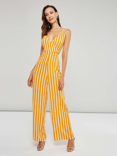 Stripe Color Block Backless Straps Women's Jumpsuit