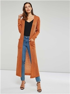 Long Sleeve Pockets Women's Long Knitted Cardigan 1