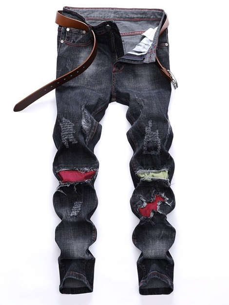 Worn Hole Men's Ripped Jeans