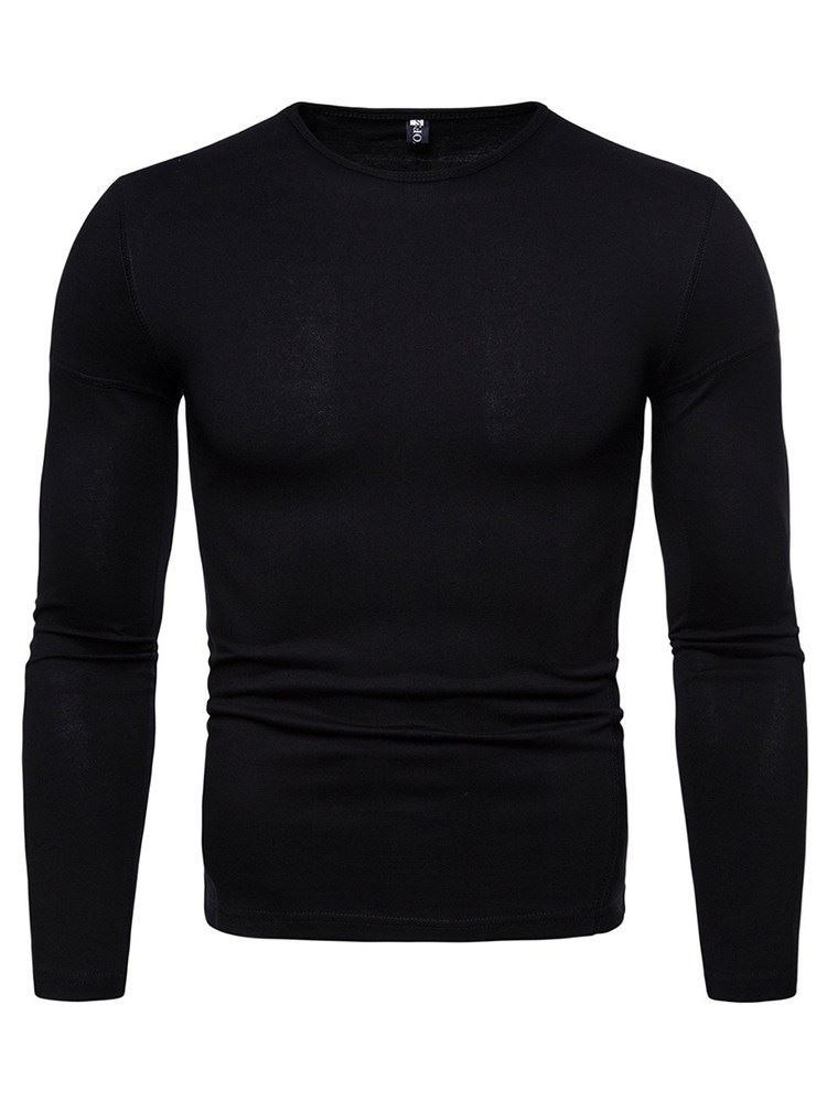 Long Sleeve Round Neck Plain Mens T-Shirt