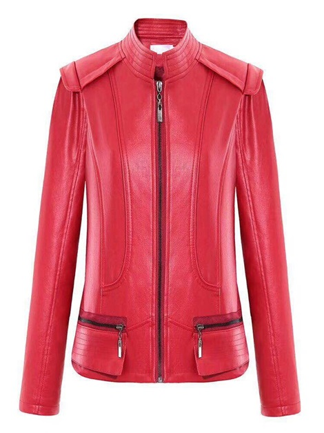 Fall Slim Zipper Stand Collar Women's PU Jacket